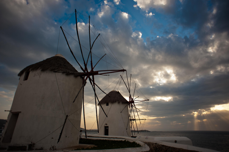 Windmills_of_the_Mykonos Island,Chora, Cyclades,Agean Sea,Greece