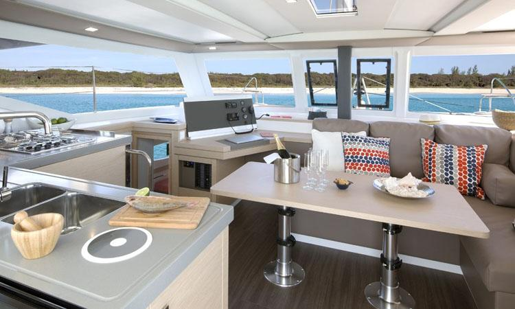 Lucia 40 catamaran saloon